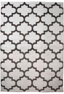 Tapete Geometric Retangular Poliéster (240X330) Cinza E Grafite
