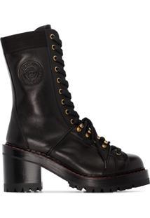 Versace Ankle Boot Com Cadarço - Preto