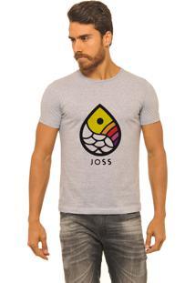 Camiseta Masculina Joss Mescla Gota Colors Cinza