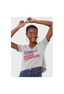 Camiseta Guess Less Monday More Summer Cinza