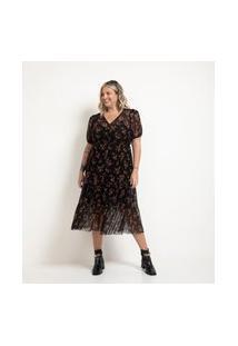 Vestido Midi Estampa Floral Com Lastex E Mangas Bufantes Preto