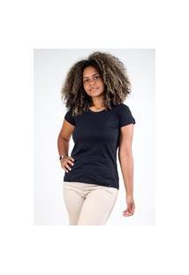Camiseta Meio Swag Básica Gola Redonda Preta