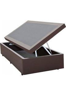 Cama Box Baú Solteiro 088 X 188 X 44 Corino Marrom - Pistão A Gás- Bau Com 30 Cm Prof
