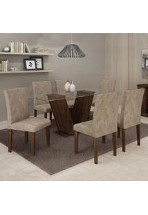 Conjunto Mesa Classic Com 6 Cadeiras Classic Vidro 08Mm 1,60X0,80 Cel Moveis Marrom