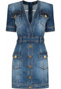 Balmain Vestido Jeans Com Efeito Estonado - Azul