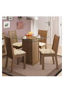 Conjunto Sala De Jantar Madesa Lucy Mesa Tampo De Vidro Com 4 Cadeiras Marrom