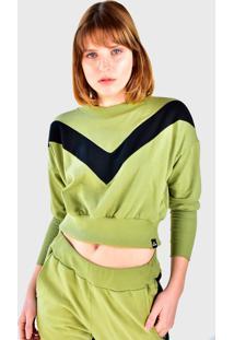 Blusa Cropped Moletom Manga Longa Brohood Verde Listra Preto