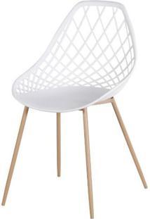 Cadeira Frank Branca Pes Bege - 50064 - Sun House