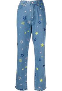 Love Moschino Calça Jeans Reta Com Bordado - Azul