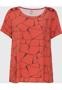 Blusa Cativa Plus Geométrica Laranja - Kanui