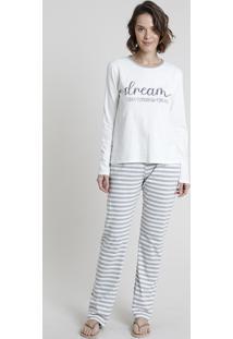 Pijama Feminino Dream Manga Longa Off White
