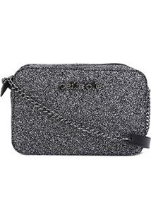 Bolsa Petite Jolie Mini Bag Nic Glitter Feminina - Feminino-Preto