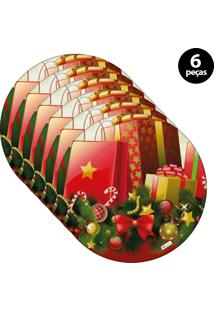 Sousplat Mdecore Natal Presente 32X32Cm Vermelho 6Pçs