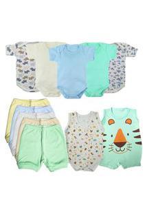 Roupa De Bebê Bonita E Estilosa Verão Kit 12 Peças Enxoval Azul