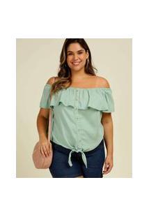 Blusa Plus Size Feminina Ciganinha Botões