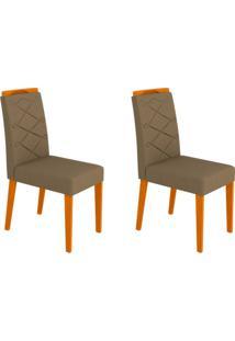 Conjunto Com 2 Cadeiras Caroline Ii Ipê E Marrom