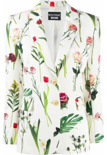 Boutique Moschino Blazer Com Abotoamento Simples E Estampa Floral - Branco