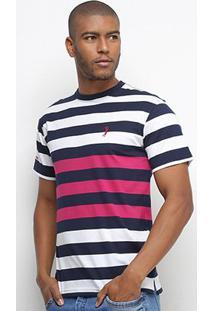 Camiseta Aleatory Listrada Fio Tinto Masculina - Masculino-Pink+Marinho