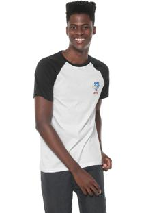 Camiseta Tectoy Raglan Sonic The Hedgehog Classic Branca/Preta