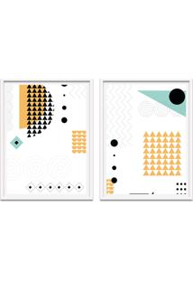 Quadro 67X100Cm Formas Geométricas Liberté Amarelo E Preto Moldura Branca Sem Vidro