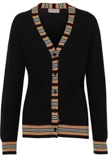 Burberry Cardigan De Lã Merino Com Detalhe Listrado - Preto