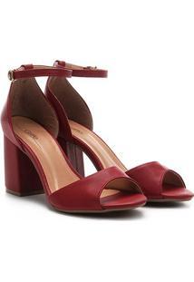 Sandália Griffe Salto Grosso Feminina - Feminino-Vermelho Escuro