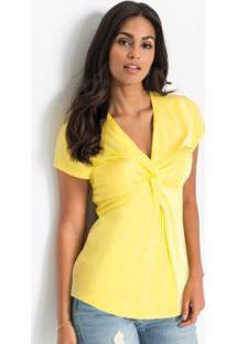 Blusa Com Nó Frontal Amarela