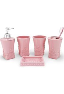 Kit Banheiro Com 5 Peças Jacki Design Lifestyle Rosa