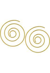 Brinco Prata Mil Apiral 36Mm Vazado Fio 1Mm Dourado - Kanui