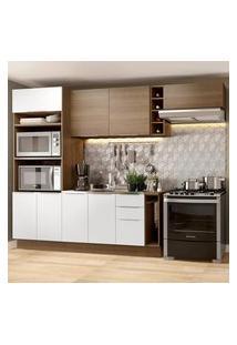 Cozinha Completa Madesa Stella 290002 Com Armário E Balcáo Marrom
