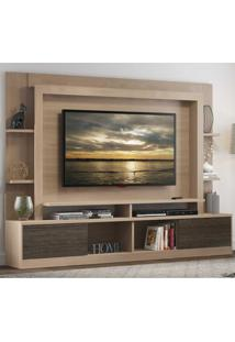 "Estante Home Theater Moscou Multimóveis Para Tv 65"""" Com Porta De Correr Para Sala De Estar Bege"