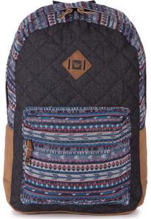 Mochila Casual Para Notebook Hang Loose Ethinic Iv Em Jeans E Jacquard Estampada Multicolorido