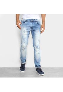 Calça Jeans Skinny Rock & Soda Marmorizada Masculina - Masculino-Azul