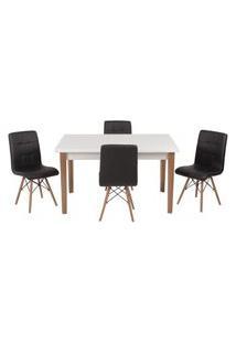 Conjunto Mesa De Jantar Luiza 135Cm Branca Com 4 Cadeiras Gomos - Preto