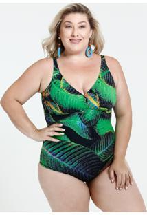 Maiô Feminino Plus Size Estampado Proteção Uv 50 Banho De Mar