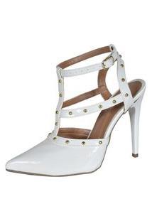 Scarpin Factor Fashion Spikes Salto Alto - Branco
