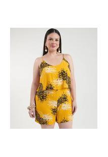 Macacão Curto Estampado Curve & Plus Size | Ashua Curve E Plus Size | Amarelo | Gg