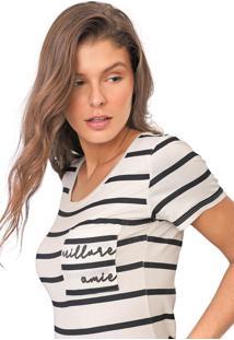 Camiseta Polo Wear Reta Listrada Off-White/Preto - Off White - Feminino - Viscose - Dafiti