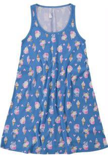 Camisola Azul Evasê Estampada Feminino