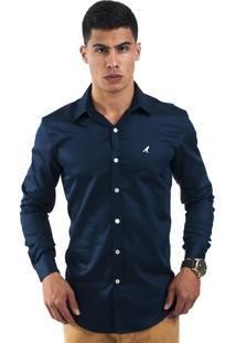 Camisa Social Horus Slim Azul Marinho
