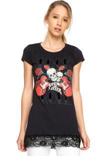 Camiseta Fiveblu Renda Preta
