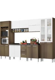 Cozinha Rafaela Castanho Fosco/Branco C/ Tampo Genialflex Móveis