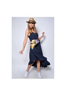Vestido Plena Assimétrico Em Linho - Pl-7925-Marinho