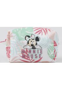 Nécessaire Feminina Minnie Mouse Estampada De Folhagens Branca - Único