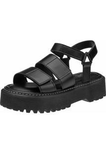 Sandalia Plataforma Chunky Gigil Flatform Velcro Preta
