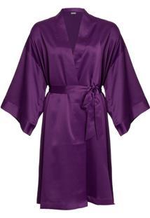 Robe Curto Manga Longa Cetim Bella Luna Purple
