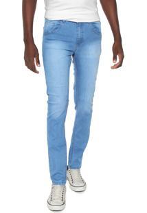 Calça Jeans Rock Blue Slim Delavê Azul