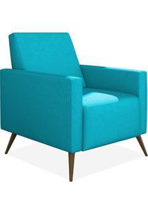 Poltrona Decorativa Lymdecor Liz Suede Azul Claro