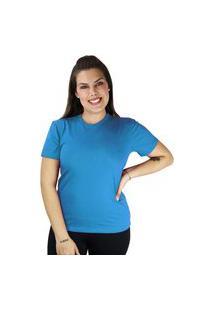 Camiseta Feminino Tshirt Manga Curta Cor Do Verão Azul