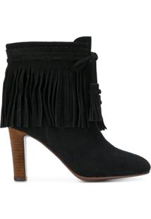 See By Chloé Ankle Boot De Couro Com Franjas - Preto